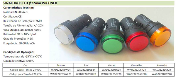 SINALEIROS LED Ø22MM WICONEX